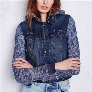 Free People Mixed Media Denim Jacket - L